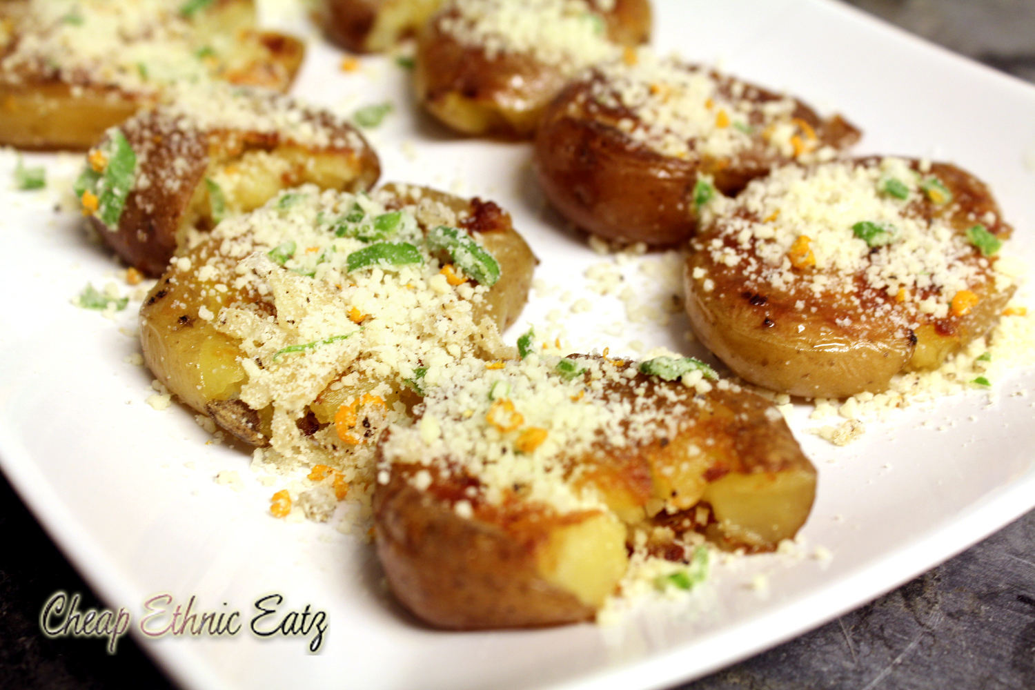 Pan Fried Smashed Potatoes inspired by A Christmas Story by Cheap Ethnic Eatz - A Christmas Story #FoodnFlix roundup via allroadsleadtothe.kitchen