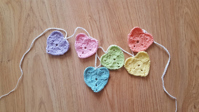 Crochet Rainbow Hearts Garland