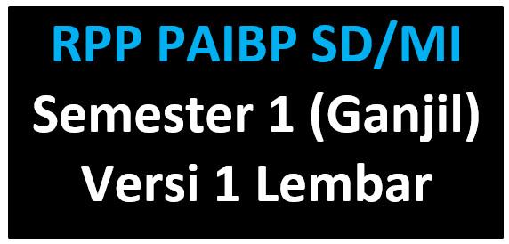 RPP 1 Lembar PAI Kelas 4,5,6 Madarasah Ibtidaiyah (MI)