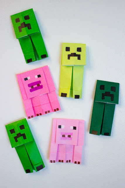 how to fold origami Minecraft creepers and pigs
