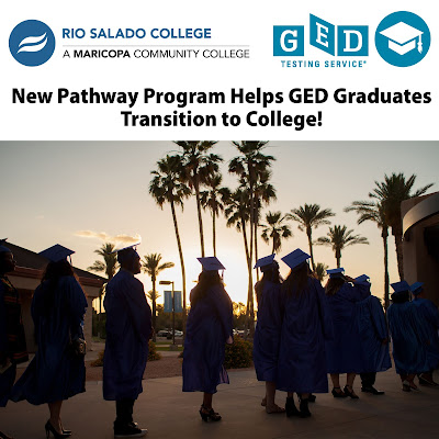 Image of Rio Salado GED grads at 2019 ceremony, lining up outdoors, around sunset.