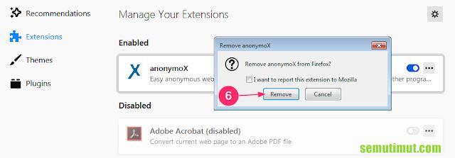 cara menghilangkan anonymox di mozilla firefox