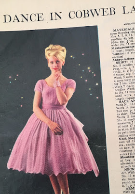 A photo of a knitted party dress from 1960