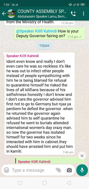 Leaked whatsapp messages warning the Kilifi deputy Governor over coronavirus