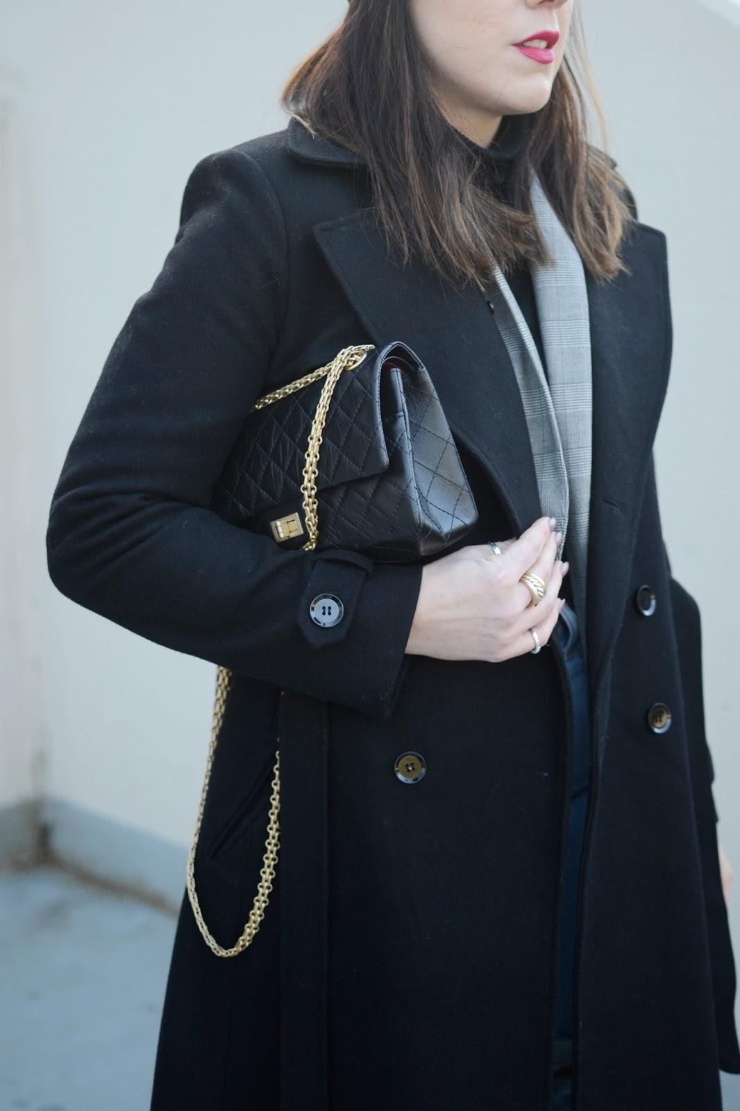 Le Chateau coat layered outfit glen plaid blazer levis wedgie jeans vancouver fashion blogger aleesha harris