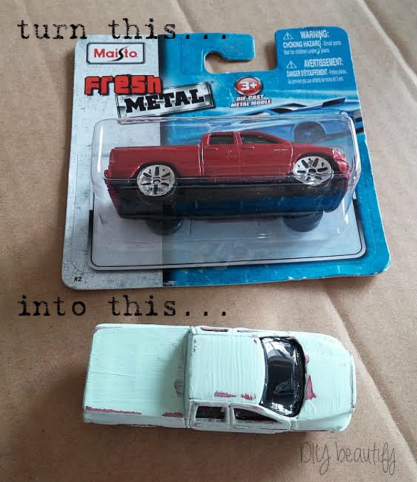 create a vintage car by painting one from the dollar store, at www.diybeautify.com