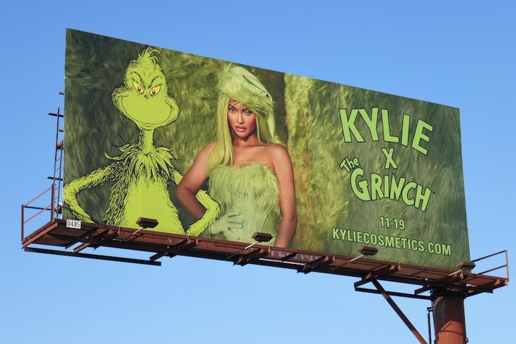 Kylie Cosmetics Grinch Holidays 2020 billboard