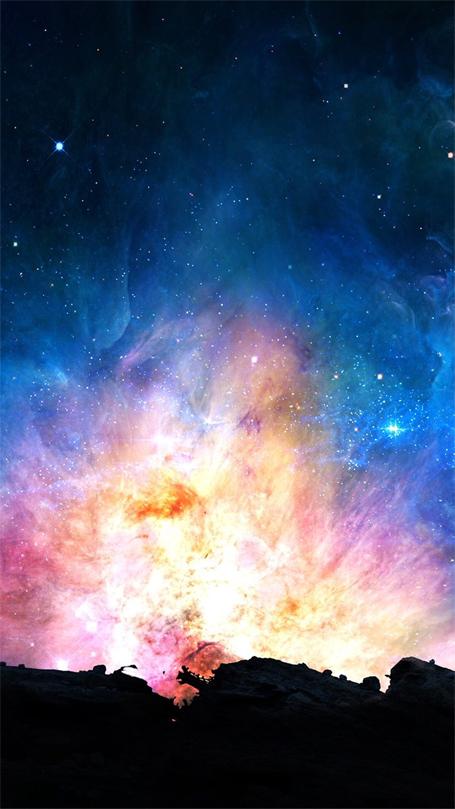 خلفية هاتف ايفون تصوير المجره معدل
