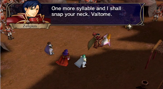 Fire Emblem Radiant Dawn General Zelgius threatens to snap Valtome's neck Begnion Sephiran