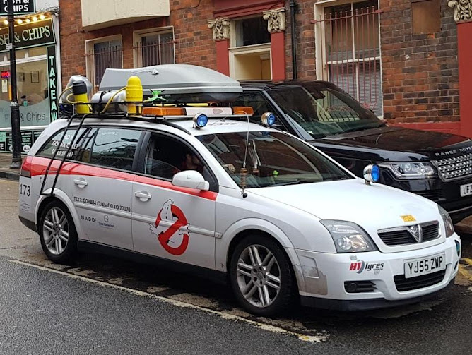 The 'Ecto-1' Gib or Bust rally car raising money for Saint Catherine's Hospice in Scarborough