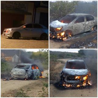 Após usar carro para assalto em Amparo, bandidos tocam fogo em veículo de empresário de Juazeirinho