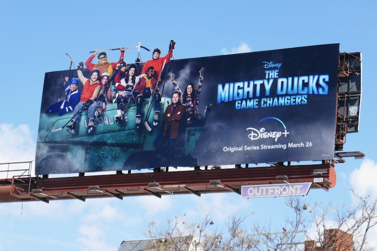Mighty Ducks Game Changers cut-out billboard