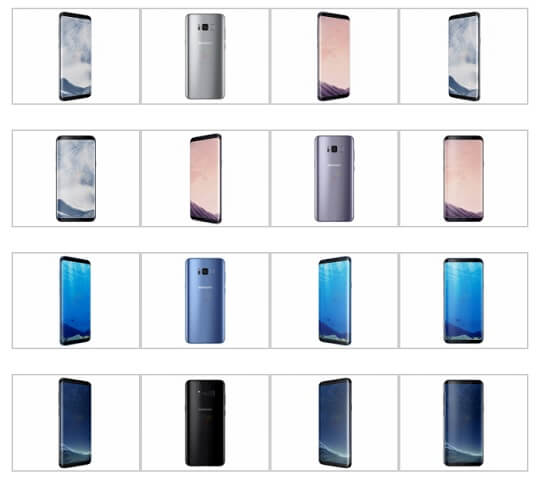 Samsung Galaxy S8 and S8+ Color Variants