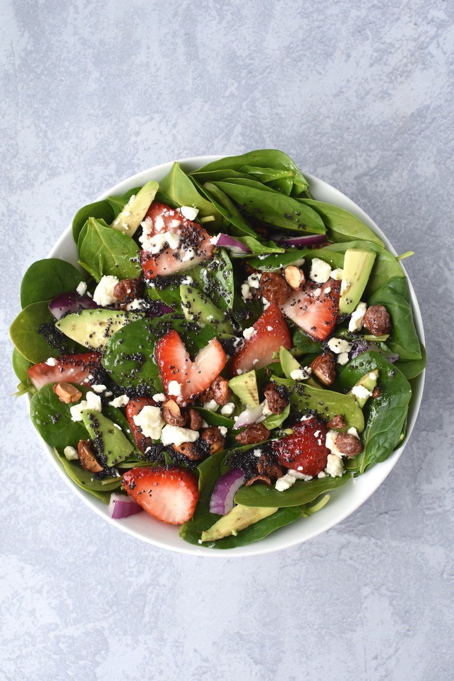 Strawberry Avocado Feta Spinach Salad with Poppy Seed Dressing