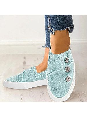 Women's light Wash Flat Round Toe Casual Sneakers