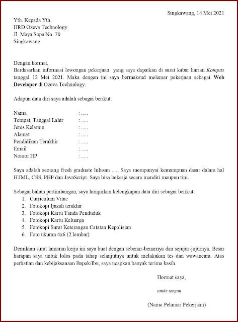Contoh Application Letter Untuk Web Developer (Fresh Graduate) Berdasarkan Informasi Dari Media Cetak