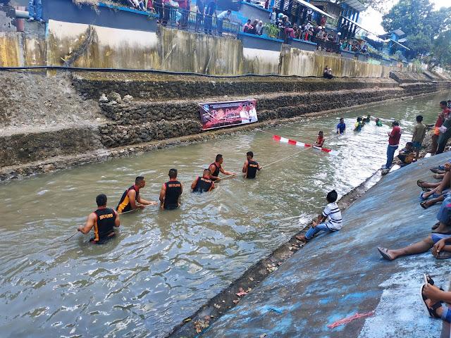 Personel Kodim 1407/Bone Kalahkan Peronel Yon C Pelopor Sat Brimob Polda Sulsel di Sungai