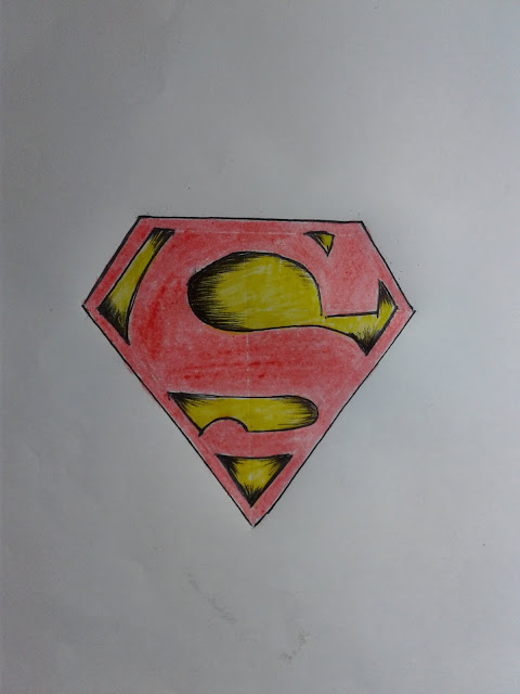 How to Draw a Superman Logo 3D step by step