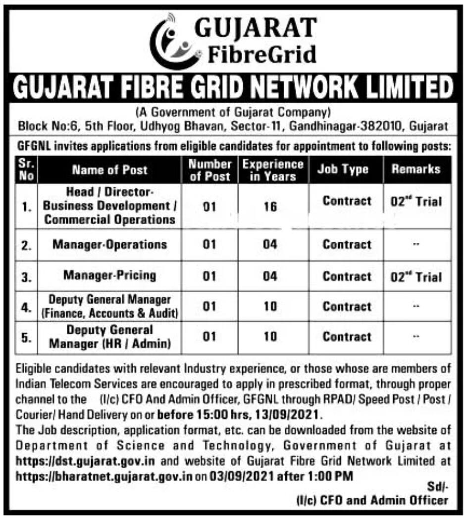 Gujarat Fibre Grid Network Limited Recruitment 2021