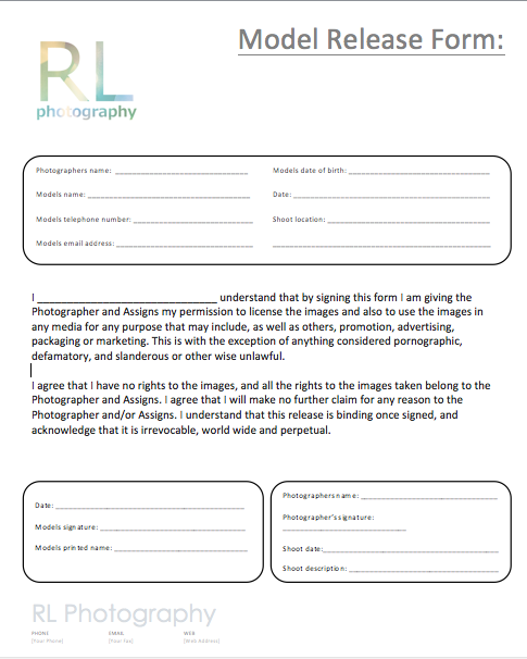 Rose llewellyn photography model release form for Standard model release form template