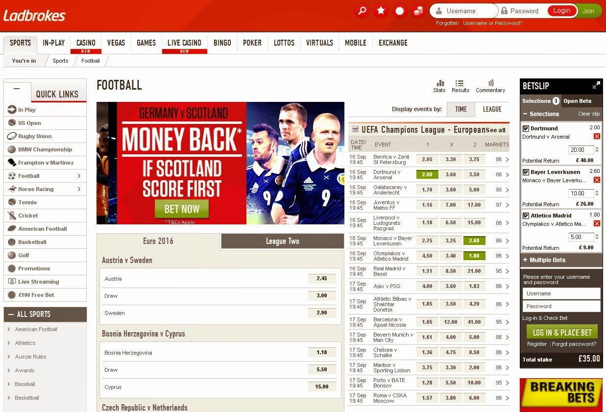 Ladbrokes BetSlip Screen