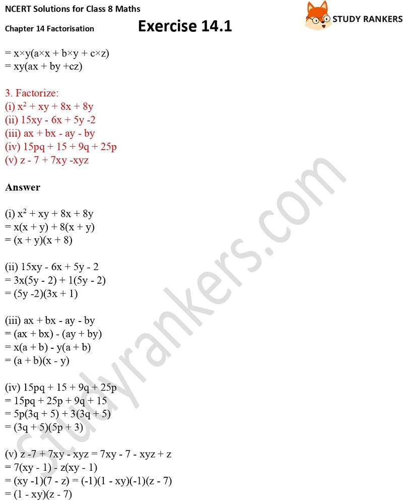 NCERT Solutions for Class 8 Maths Ch 14 Factorization Exercise 14.1 4