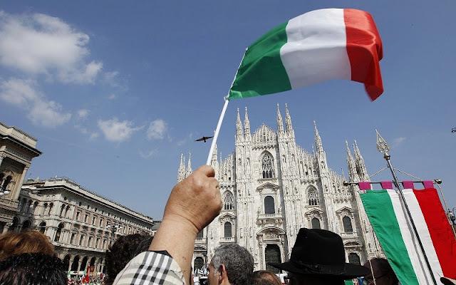 Dia da libertação sendo celebrado em Milão