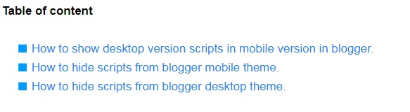 Create table of content (TOC) in blogger