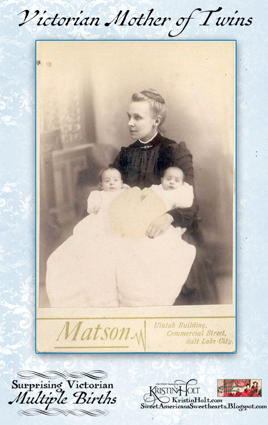 Kristin Holt | Surprising Victorian Multiple Births. Cabinet card photograph of Victorian mother with twin babies.