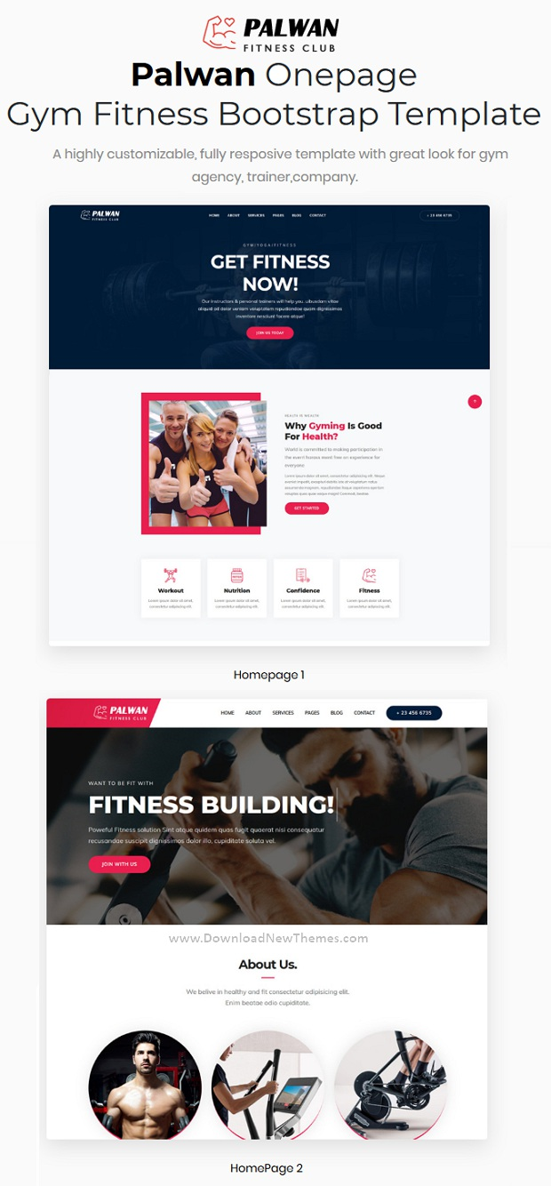 Professional Gym Fitness One Page Website Template