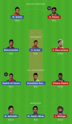 BAN vs SL Dream 11 Team | SL vs BAN