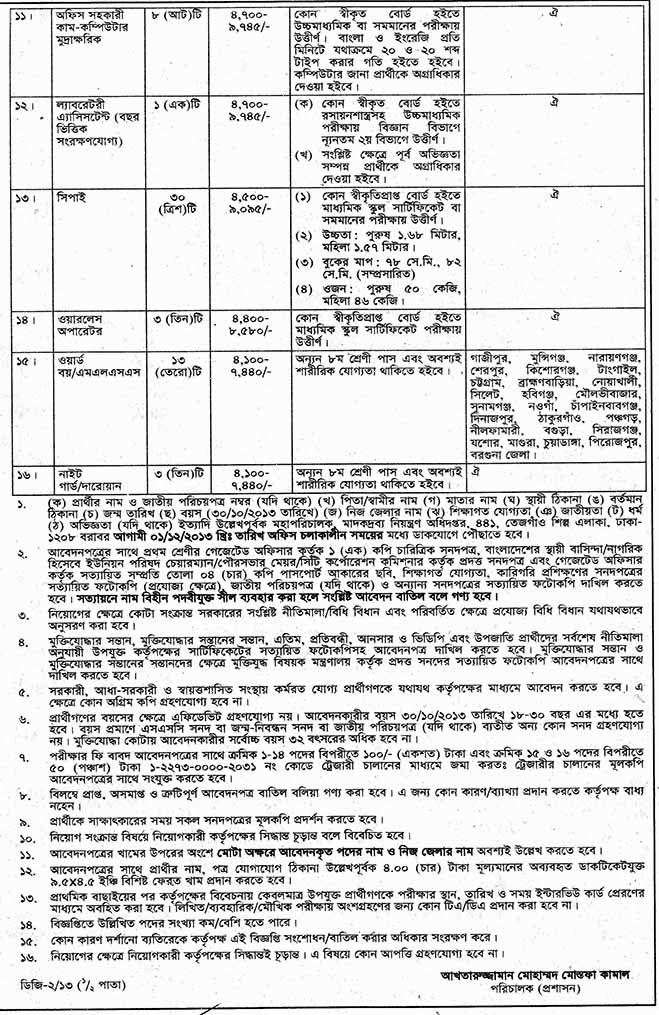 Jobs Barta: Directorate General of Drug Administration