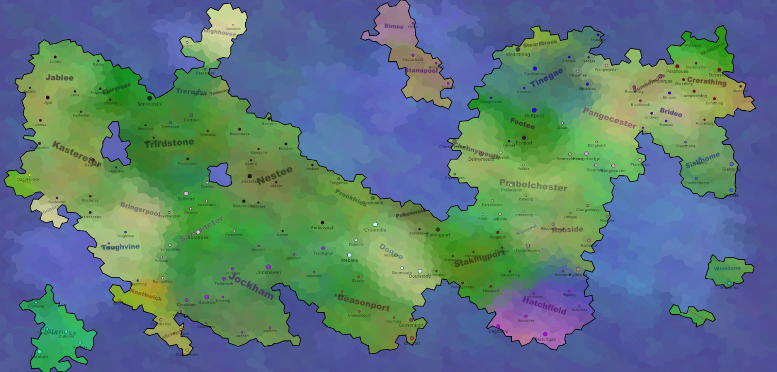 Continents, States, Towns, Tiles