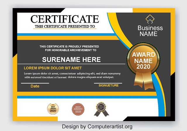 free Printable Certificates - Download free PSD and Cdr file Certificate Design Template - Computerartist