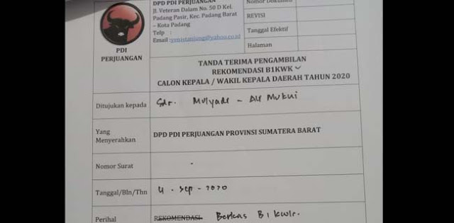 Kandang Banteng Panas, Ali Mukhni Kembalikan Rekomendasi PDIP Via Video