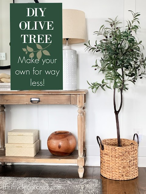 DIY olive tree in basket