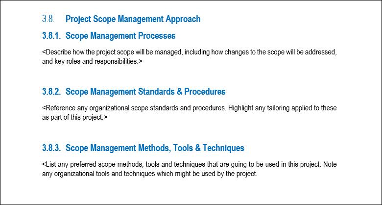 Scope Management, Project Scope Management, Scope Management Plan