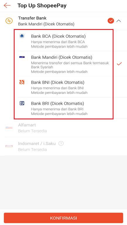 Daftar Bank Yang Bisa Digunakan Untuk Melakukan Top Up ShopeePay.