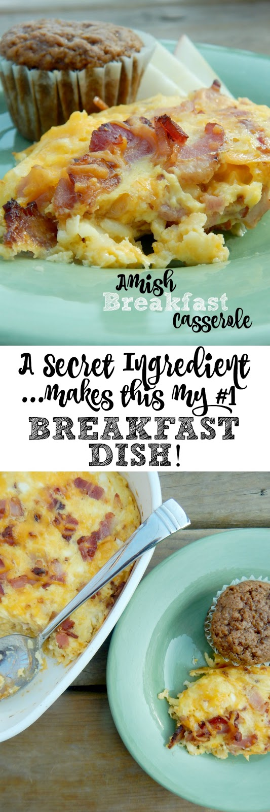 Amish Breakfast Casserole...the BEST baked egg dish EVER!  Can you guess the secret ingredient? (sweetandsavoryfood.com)