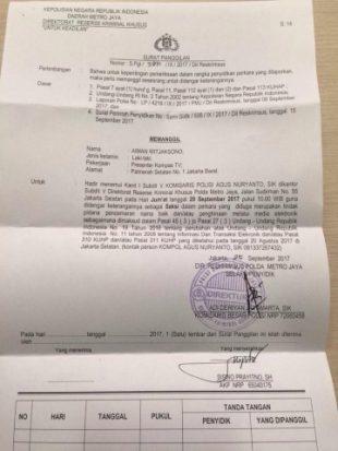 surat panggilan aiman - Polda Metro Periksa Pemred dan Pembawa Acara Kompas TV