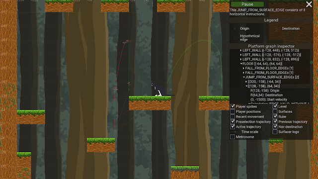 A screenshot from Squirrel Away, showing the platform-graph inspector rendering jump trajectories as well as all jump/land position pairs that were considered for possible jumps between a pair of surfaces.