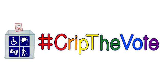 Image description: #CripTheVote hashtag in rainbow colors with different letters in red, orange, yellow, green, blue, and purple against a white background. On the left of the hashtag is an image of a ballot box.