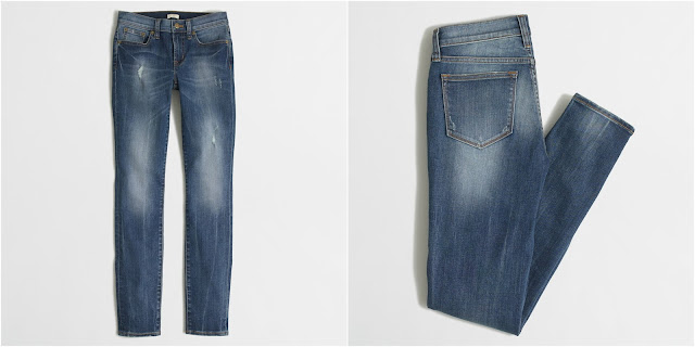 J. Crew Factory Distressed Stadium Wash Skinny Jeans $40 (reg $80)
