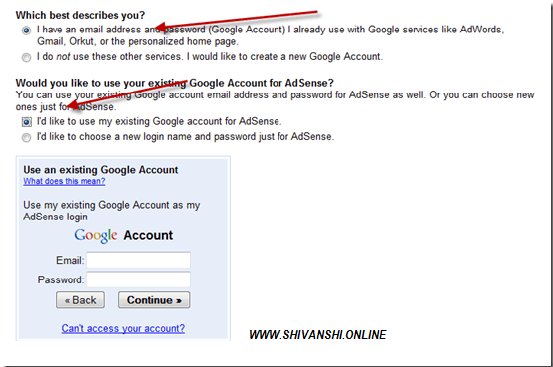 Google Adsense sign in