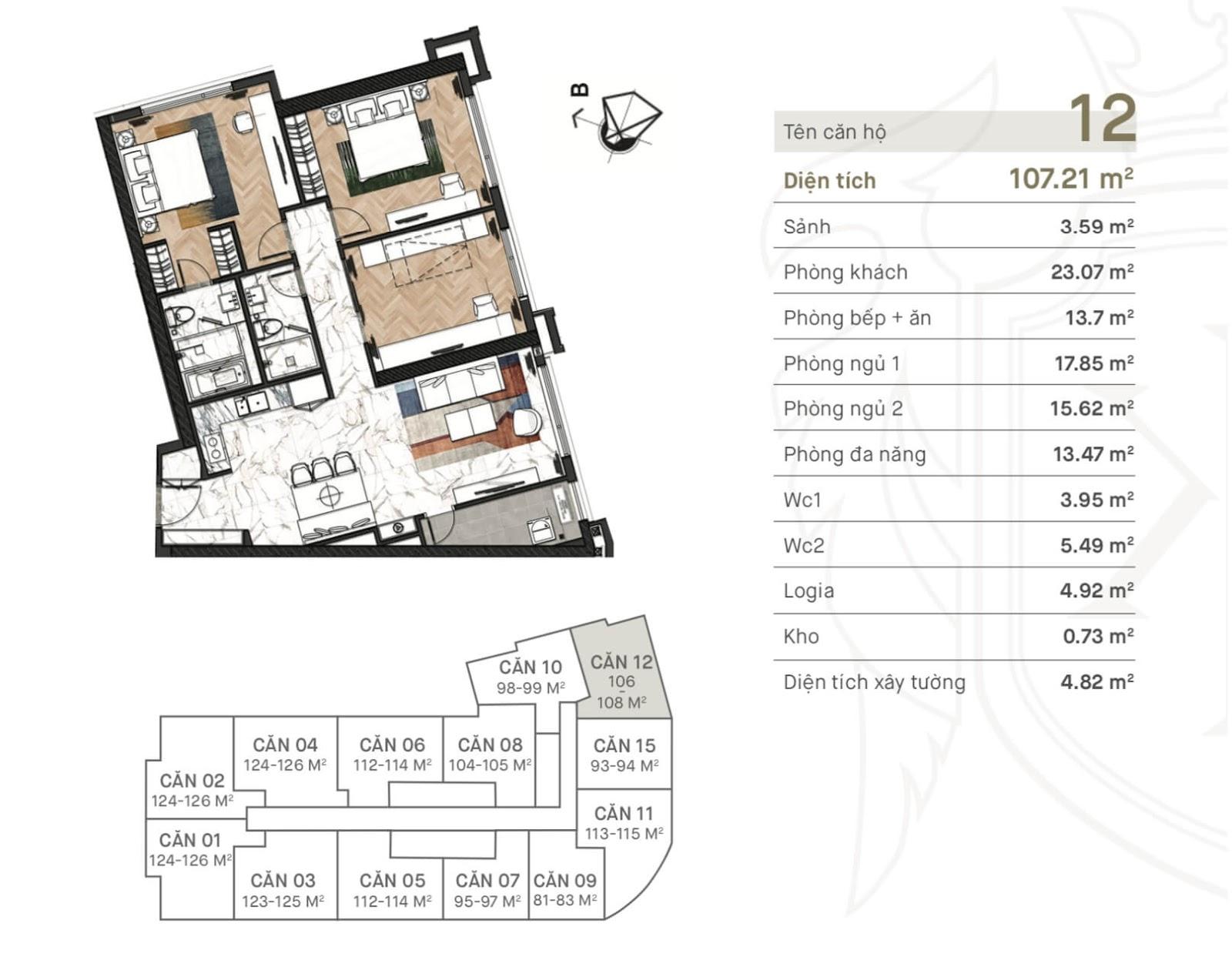 Thiết kế căn hộ 12 dự án King Palace