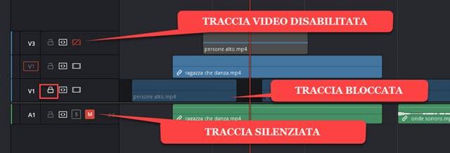 tracce video disabilitate e audio silenziate