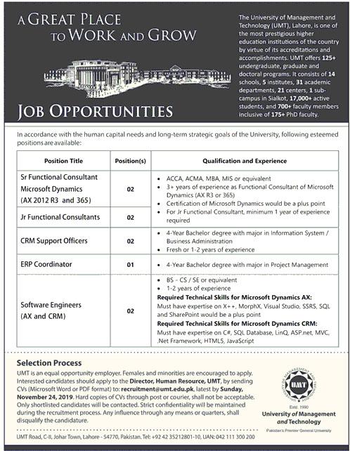 Latest Jobs in University Of Management & Technology Nov 2019