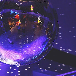 Disco ball in purple ballroom