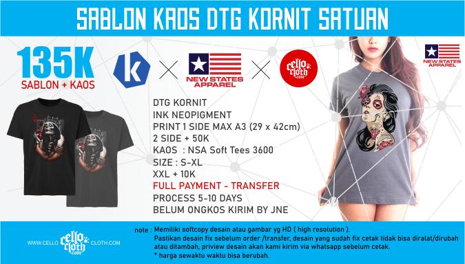 Sablon Kaos DTG Kornit Digital Raster Satuan X New States Apparel Soft Tees 3600