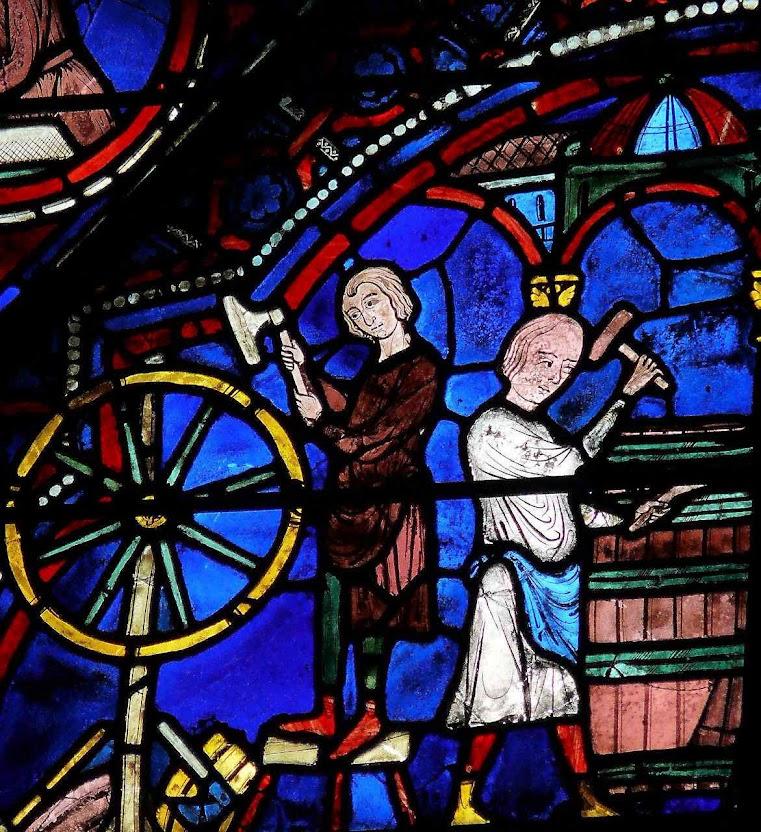 Tanoeiros fazendo pipas, vitral da catedral de Chartres